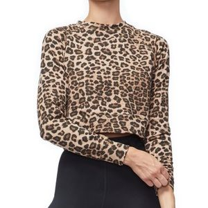 Good American Leopard Cropped Crew NWT